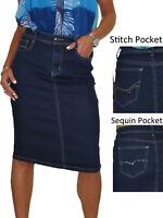 Stretch Denim Jeans Pencil Skirt Indigo Dark Blue 12-24