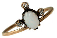 Victorian C-1890s 14k Yellow Gold Diamond Opal White Stone Conversion Ring