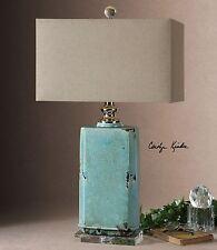 Turquoise Crackled Ceramic Table Lamp | Aqua Ceramic Distressed
