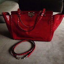 Valentino Garavani Rockstud Large Red Pantent Leather Tote / Bag