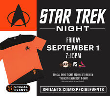 SF Giants Star Trek t-shirt SGA Special Event 9/1/17 Small (all sizes available)