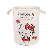 Hello Kitty ROUND Linen Foldable Laundry Basket Tidy Clothes Socks Storage KK916