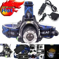 Tactical 100000LM Flashlight Zoomable T6 LED Headlight Headlamp Torch + Charger