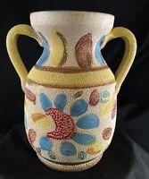 "Vintage MID CENTURY  ITALIAN LAVA SPLATTER GLAZE FLOWER 6"" Vase ITALY"