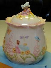 Popular Enchanted Garden Fantasy Fairies Ceramic Cookie Jar Floral w/Butterflies