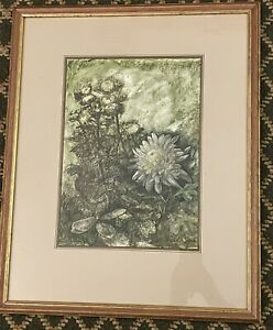 Emilio A Serio (New York, 1930-2015) Flowers Pastel Painting Signed & Framed