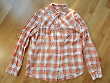 Ladies Womens ACE DELIVERY M Medium Plaid Orange White Long Sleeve Flannel Shirt