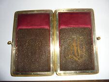 27589 Zigarrenetui Vint cigar box Biedermeier Stickerei Mongramm Leder leather