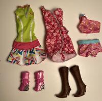 Genuine Barbie Fashion Brand Doll Clothes Dresses Shoes Cowboy Heart Boots Lot