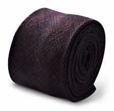 Frederick Thomas navy blue and orange check tweed wool men's tie FT3365