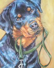 "ROTTWEILER dog portrait art canvas PRINT of lashepard painting 8x10"" rottie"