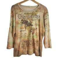 Women's Chardonnay Long Sleeve Shirt Boat Neck Top Napa Valley Size Large