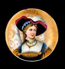 More details for antique victorian kpm porcelain plaque portrait miniature pin dish lady feather
