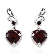 925 Sterling Silver Valentine Heart Garnet Dangle Drop Earrings Jewelry Ct 3