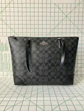 Coach F29208 Zip Top Tote In Signature Coated Canvas Black Smoke Black