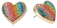 Betsey Johnson B12506-E01 Rainbow Connection Rainbow Pave Heart Stud Earrings