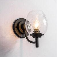 Vintage Wall Mount Lamp Seeded Glass Shade Indoor Lighting Sconce Light Fixture