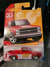 2018 Hot Wheels 80's Throwback 50Th Red '83 Chevy Silverado -Asian version