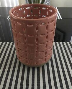 New Bath & Body Works Elements Cream Peach Pink Ceramic Luminary/Vase