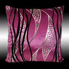"""ABSTRACT SILVER BLACK CURVE PURPLE VELVET THROW PILLOW CASE CUSHION COVER 17"""""""