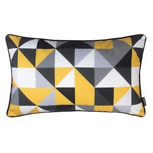 Oblong Geometric Cushion Mustard Yellow Grey Cover Rectangle Throw Pillow Sofa