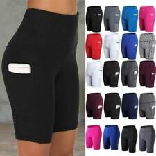 Mujeres Cintura Alta Yoga Pantalones Cortos Pantalones Cortos de Ciclista Ciclismo De Bolsillo Leggings Deportivo F1