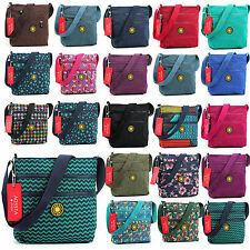 Ladies Multiple Zip Pocket Lightweight Messenger Shoulder Cross Body Bag