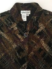 Coldwater Creek M Cardigan 1 Button Open Front Long Sleeve Career Womens Acetate