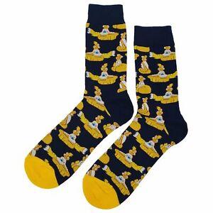 NWT Yellow Submarine Dress Socks Novelty Men 8-12 Black Fun Sockfly