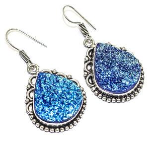 "Awesome Titanium Blue Druzy Handmade Ethnic Style Jewelry Earring 1.83"" LJ"