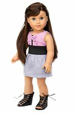 Lavender and Gray Girl Summer Dress clothes for 18 inch American Doll