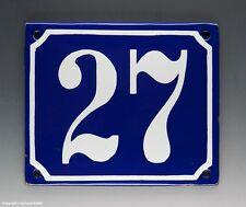 EMAILLE, EMAIL-HAUSNUMMER 27 in BLAU/WEISS um 1950-1955