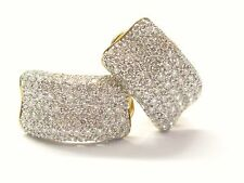 18Kt Round Cut Diamond Pave Huggie Yellow Gold Earrings 3.00CT 3/4""