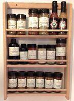 "Solid OAK Wooden Spice Rack / 20.5""H x 13.75""W / Wall Mount Spice Organizer"