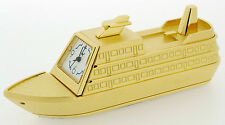 Novelty Cruise Liner Clock in Gold Tone on Solid Brass