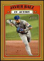 Javier Baez 2021 Topps Heritage In Action 5x7 Gold Chicago Cubs /10