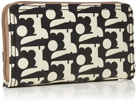 ORLA KIELY BABY BUNNY PRINT BIG ZIP AROUND WALLET PURSE BLACK
