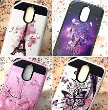 For LG STYLO 3 - Hybrid Brushed Armor Hard TPU Rubber Slim Fit Phone Case Cover
