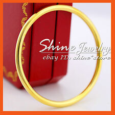 9K PLAIN YELLOW GOLD FILLED GOLF ROUND 65MM MENS LADY GIFT SOLID BANGLE BRACELET