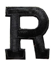 "1-3/4"" Black Letter ""R"" Embroidery Iron On Applique Patch"