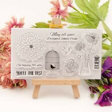 Flower birdcage Silicone Rubber Stamp Cling Diary Scrapbooking Card DIY K6