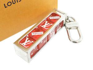 LOUIS VUITTON Supreme Supreme Collaboration Dice Keychain Charm Red xSilver ...