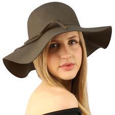 """Winter Soft Wool Felt Ribbon Bow Floppy 3-1/2"""" Wide Brim Dress Church Hat Gray"""