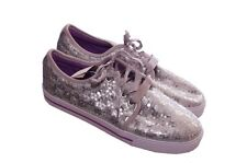 Girls Silver Sequin Purple Canvas Tennis Shoes Lace Up Fashion Shiny Size 5 NEW