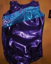 NWT BP Designs Gymnastic Tank Leotard Foil Purple Leopard Print Youth Medium