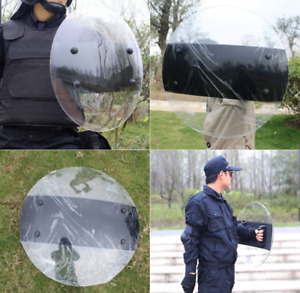 Anti-Riot Handheld Round Clear Shield For Police CS Campus Security Equipment D1