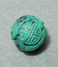 CARVED and PIERCED 15mm MA'ANSHAN RED SKIN TURQUOISE LONGEVITY SHOU BEAD