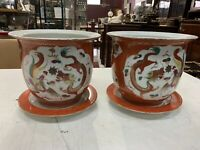 Vantage Pair Of Chinese Porelain Jardinieres And Stands