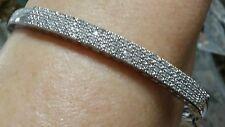 WOW MACYS STERLING SILVER 1+ CARAT CT GENUINE PAVE DIAMOND CUFF BANGLE BRACELET