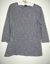 CURRENT COLLECTION THEORY WHITE NAVY CELINE STRIPED LONGER LENGHT TOP SHIRT